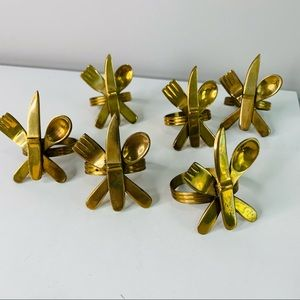 Solid Brass Silverware Napkin Rings set of 6